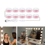 10 LEDs Mirror Front Light Dimmable Makeup Mirror USB Touch Control Light(White Light)