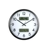 13 Inch Dual-screen LED Display Wall Clock Living Room Temperature And Humidity Calendar Multi-function Clock(Black)