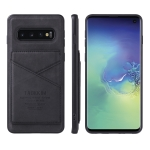 For Samsung Galaxy S10+ TAOKKIM Retro Matte PU Leather + PC + TPU Shockproof Back Cover Case with Holder & Card Slot(Black)
