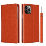 Litchi Texture Horizontal Flip Top Layer Cowhide Leather Case with Holder & Card Slots & Wallet & Strap & Wire Winder For iPhone 12 Pro Max(Orange)