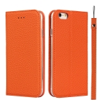 Litchi Texture Horizontal Flip Top Layer Cowhide Leather Case with Holder & Card Slots & Wallet & Strap & Wire Winder For iPhone 6 Plus & 6s Plus(Orange)