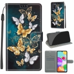 For Samsung Galaxy A41 EU Version Voltage Colored Drawing Magnetic Clasp Horizontal Flip PU Leather Case with Holder & Card Slots(C20 Gold Silver Flying Butterflies)