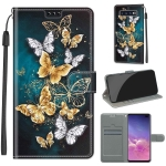For Samsung Galaxy S10+ Voltage Colored Drawing Magnetic Clasp Horizontal Flip PU Leather Case with Holder & Card Slots(C20 Gold Silver Flying Butterflies)
