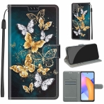 For Honor 10X Lite Voltage Colored Drawing Magnetic Clasp Horizontal Flip PU Leather Case with Holder & Card Slots(C20 Gold Silver Flying Butterflies)