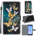 For Huawei Y6 2018 / Honor 7A Voltage Colored Drawing Magnetic Clasp Horizontal Flip PU Leather Case with Holder & Card Slots(C20 Gold Silver Flying Butterflies)