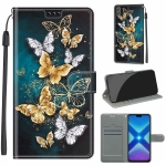 For Honor 8X Voltage Colored Drawing Magnetic Clasp Horizontal Flip PU Leather Case with Holder & Card Slots(C20 Gold Silver Flying Butterflies)