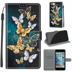 Voltage Colored Drawing Magnetic Clasp Horizontal Flip PU Leather Case with Holder & Card Slots For iPhone 6s / 6(C20 Gold Silver Flying Butterflies)