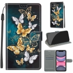Voltage Colored Drawing Magnetic Clasp Horizontal Flip PU Leather Case with Holder & Card Slots For iPhone 12 mini(C20 Gold Silver Flying Butterflies)