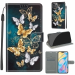 Voltage Colored Drawing Magnetic Clasp Horizontal Flip PU Leather Case with Holder & Card Slots For iPhone 12 Pro Max(C20 Gold Silver Flying Butterflies)