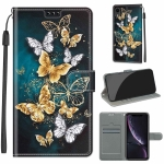 Voltage Colored Drawing Magnetic Clasp Horizontal Flip PU Leather Case with Holder & Card Slots For iPhone XR(C20 Gold Silver Flying Butterflies)