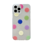 Colorfu Dot Pattern TPU Straight Edge Shockproof Case For iPhone 12 / 12 Pro(Red Green Yellow)