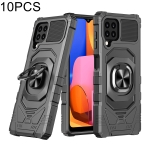 For Samsung Galaxy A22 4G 10 PCS Union Armor Magnetic PC + TPU Shockproof Case with 360 Degree Rotation Ring Holder(Black)