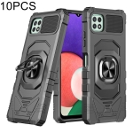 For Samsung Galaxy A22 5G 10 PCS Union Armor Magnetic PC + TPU Shockproof Case with 360 Degree Rotation Ring Holder(Black)