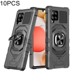For Samsung Galaxy A42 5G 10 PCS Union Armor Magnetic PC + TPU Shockproof Case with 360 Degree Rotation Ring Holder(Black)
