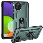 For Samsung Galaxy A22 4G Shockproof TPU + PC Protective Case with 360 Degree Rotating Holder(Dark Green)