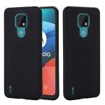 For Motorola Moto E7 2020 Pure Color Liquid Silicone Shockproof Full Coverage Case(Black)