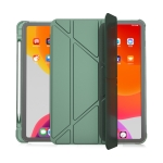 Multi-folding Horizontal Flip PU Leather + TPU Aitbag Shockproof Half Paste Case with Holder & Pen Slot & Sleep / Wake-up Function For iPad Pro 11 2020/2021(Deep Green)