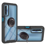 For TCL 20S Starry Sky Solid Color Series Shockproof PC + TPU Protective Case with Ring Holder & Magnetic Function(Black)
