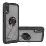 For LG K22 / K22+ Starry Sky Solid Color Series Shockproof PC + TPU Protective Case with Ring Holder & Magnetic Function(Black)