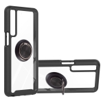 For LG Stylo 7 4G Starry Sky Solid Color Series Shockproof PC + TPU Protective Case with Ring Holder & Magnetic Function(Black)