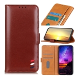 3-Color Pearl Texture Magnetic Buckle Horizontal Flip PU Leather Case with Card Slots & Wallet & Holder For iPhone 13(Brown)