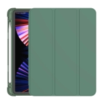 3-folding Horizontal Flip PU Leather + TPU Aitbag Shockproof Half Paste Case with Holder & Pen Slot & Sleep / Wake-up Function For iPad Pro 11 2020/2021(Deep Green)