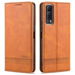 For vivo Y53s AZNS Magnetic Calf Texture Horizontal Flip Leather Case with Card Slots & Holder & Wallet(Dark Brown)