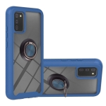 For Samsung Galaxy A02s US Version Starry Sky Solid Color Series Shockproof PC + TPU Protective Case with Ring Holder & Magnetic Function(Blue)