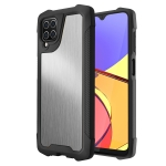 For Samsung Galaxy A12 5G Stainless Steel Metal PC Back Cover + TPU Heavy Duty Armor Shockproof Case(Brush Silver)
