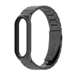 For Xiaomi Mi Band 6 / 5 / 4 / 3 Metal CS Bamboo Joint Stainless Steel Replacement Watchband(Black)