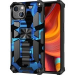 Camouflage Armor Shockproof TPU + PC Magnetic Protective Case with Holder For iPhone 13(Blue)
