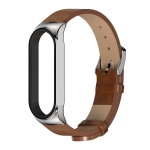 For Xiaomi Mi Band 6 / 5 / 4 / 3 CS Microfiber Leather Replacement Watchband(Brown + Silver)