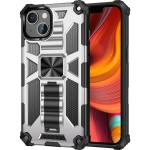 Armor Shockproof TPU + PC Magnetic Protective Case with Holder For iPhone 13 Pro Max(Silver)