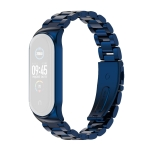 For Xiaomi Mi Band 6 / 5 / 4 / 3 CS Metal Three Bead Stainless Steel Replacement Watchband(Blue)