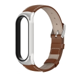 For Xiaomi Mi Band 6 / 5 / 4 / 3 CS First Layer Cowhide Replacement Watchband(Brown + Silver)