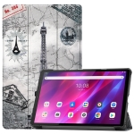 For Lenovo Qitian K10 TB-X6C6F / TB-X6C6X / TB-X6C6NBF Custer Painted TPU Smart Tablet Leather Case with Sleep / Wake-up Function & 3-Fold Holder(Retro Tower)