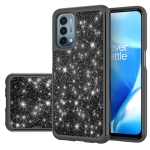 For OnePlus Nord N200 5G Glitter Powder Contrast Skin Shockproof Silicone + PC Protective Case(Black)