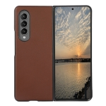 For Samsung Galaxy Z Fold3 5G Lambskin Texture Shockproof Protective Leather Case(Brown)