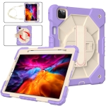 Contrast Color Robot Shockproof Silicon + PC Protective Case with Holder & Shoulder Strap For iPad Pro 11 2021 / 2020 / 2018 / iPad Air 4 10.9 2020(Purple Beige)