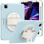 360 Degree Rotation PC + TPU Protective Case with Holder & Hand-strap & Pen Slot For iPad Pro 11 2021 / 2020 / 2018(Ice Crystal Blue)
