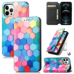 Colored Drawing Magnetic Horizontal Flip PU Leather Case with Holder & Card Slots & Wallet For iPhone 13 Pro Max(Color Honeycomb)