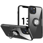 Shockproof Transparent TPU + Acrylic Protective Case with Ring Holder For iPhone 13(Silver Black)