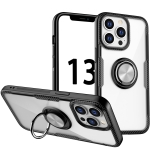 Shockproof Transparent TPU + Acrylic Protective Case with Ring Holder For iPhone 13 Pro Max(Silver Black)
