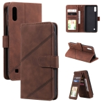 For Samsung Galaxy A10 / M10 Skin Feel Business Horizontal Flip PU Leather Case with Holder & Multi-Card Slots & Wallet & Lanyard & Photo Frame(Brown)