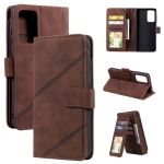 For Samsung Galaxy A52 5G / 4G Skin Feel Business Horizontal Flip PU Leather Case with Holder & Multi-Card Slots & Wallet & Lanyard & Photo Frame(Brown)
