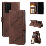 For Samsung Galaxy Note20 Ultra Skin Feel Business Horizontal Flip PU Leather Case with Holder & Multi-Card Slots & Wallet & Lanyard & Photo Frame(Brown)