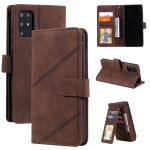 For Samsung Galaxy S20+ Skin Feel Business Horizontal Flip PU Leather Case with Holder & Multi-Card Slots & Wallet & Lanyard & Photo Frame(Brown)