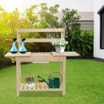 [US Warehouse] Rectangular Wooden Sliding Tabletop Garden Workbench with Sink, Size: 55.1 x 39.4 x 18.1 inch