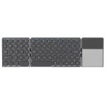 B052 Universal Round Keycap Mini Three-fold Bluetooth Wireless Keyboard with Touchpad (Black)