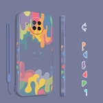 For Xiaomi Redmi Note 9 Pro Cube Painted Smiley Straight Side Liquid Silicone Shockproof Case with Hand Strap(Grey)
